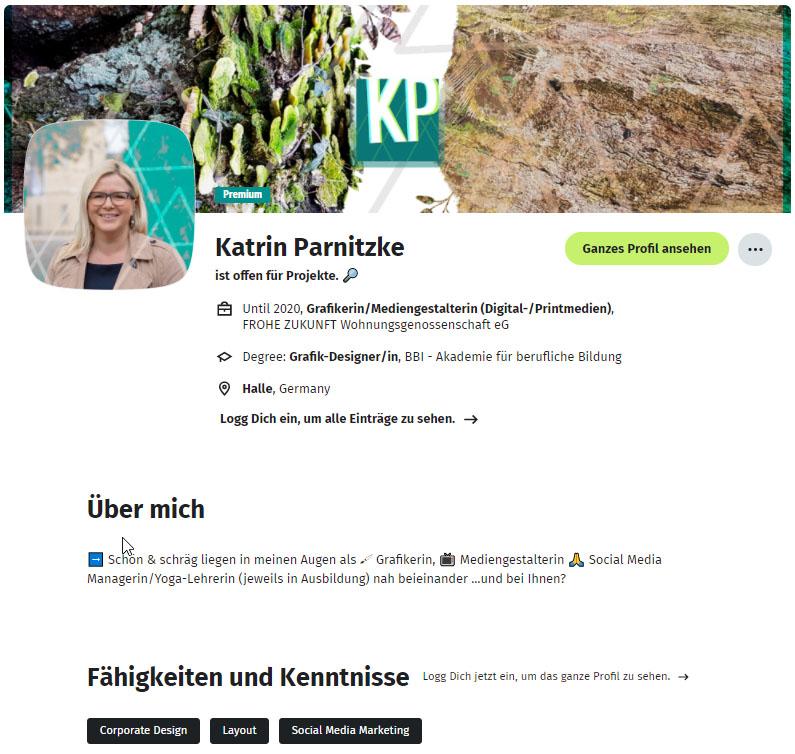 Social Media Kanal: Xing-Profil von Katrin Parnitzke
