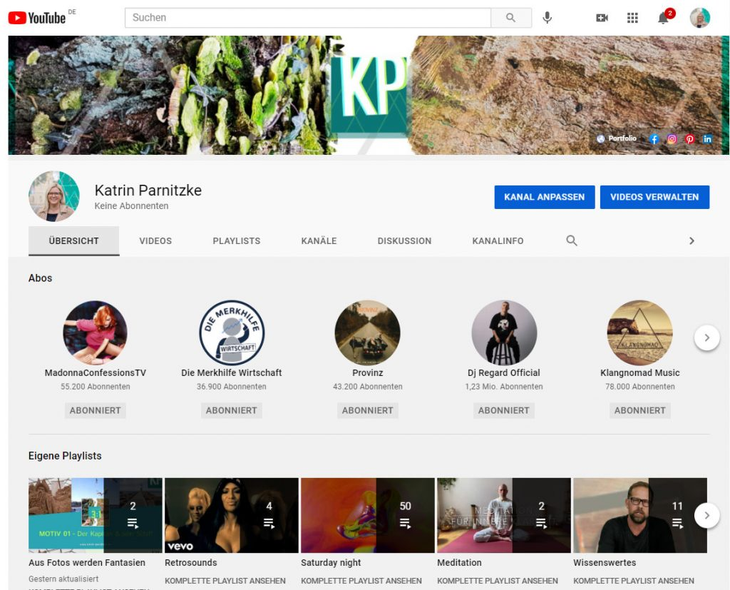Social Media Kanal: YouTube-Kanal von Katrin Parnitzke